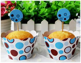 Funcart Blue Polka Dots Cupcake Wraps And Amp And Picks (Pack Of 12)