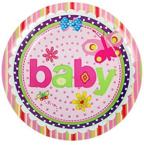 Funcart Butterfly Baby Theme Disposable Paper Plate( Pack Of 6)
