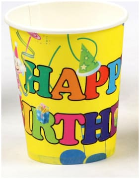 Funcart Colorful Balloons Theme 255.14 g (9 Oz) Paper Cup( Pack Of 6)