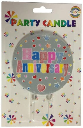 Funcart Colorful Heart and Star Printed Happy Anniversary Cake Candle