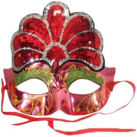 Funcart Fancy Eye Mask with ornate sequin design - Red
