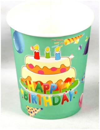 Funcart Frolic Birthday Theme 255.14 g (9 Oz) Paper Cup( Pack Of 6)