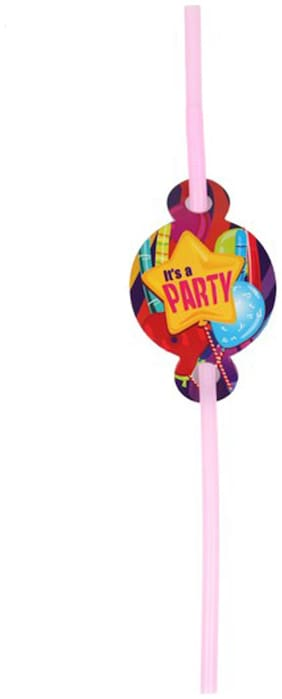 Funcart Fun And Frolic Funcart Party Theme Drinking Straws ( Pack Of 6)