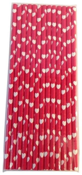 Funcart Funcart Paper Straws 25PCS  Red with Heart design