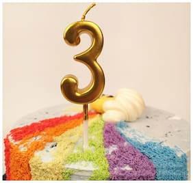 Funcart Golden color numerical number three cake topper candle