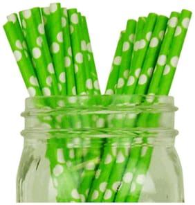 Funcart Green Polka Dot Paper Straws (Pack Of 25)