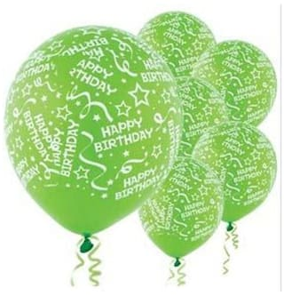 Funcart Green Elegant Happy Birthday Balloons Pack Of 5
