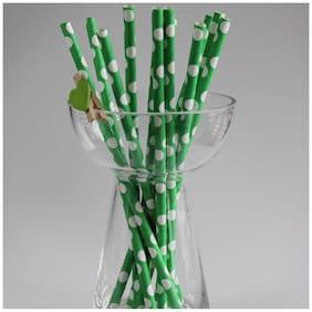 Funcart Green Small Polka Dot Paper Straws