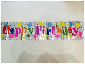 Funcart Happy Birthday Balloons Holographic Banner