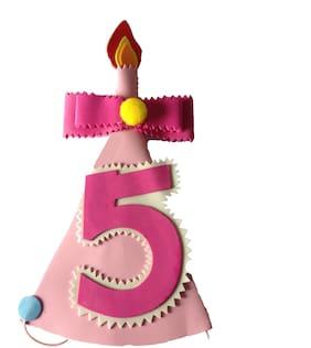 Funcart Happy Birthday Pink Number Five foam Cone Cap