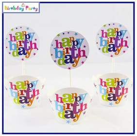 Funcart Happy birthday theme cup cake wrapper