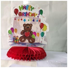 Funcart Happy Birthday Colorful Balloon with Teddy Bear Honeycomb Ball Table Decor