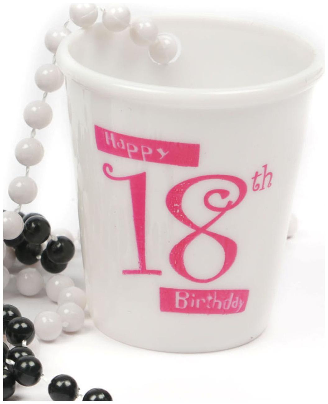 Funcart Happy 18 Birthday Shot Glass Necklace White