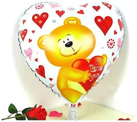 Funcart Heart shaped Teddy I luv u foil ballon ( 45 cm by 45 cm)