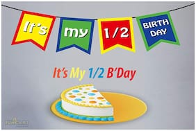 Funcart It's My 1/2 Birthday Multi Color Banner for Half Birthday Decoration/Half Birthday Decoration/6 Month/Half Way to One