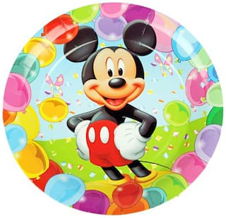 Funcart Mickey Mouse Theme Disposable Paper Plate( Pack Of 6)