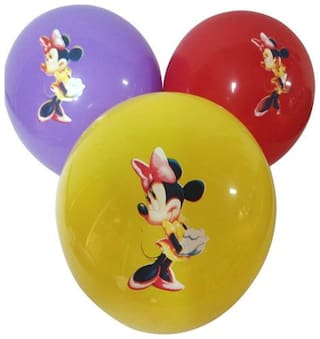 Funcart Minnie Mouse Assorted color printed balloons (pack of 5)