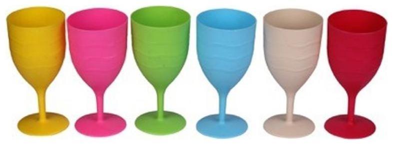 Funcart Multi color Wine Glasses  pack of 6