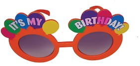 Funcart Multicolor it's my Birthday Balloons orange Round Glasses