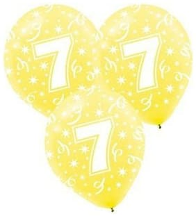 Funcart Number 7 Assorted Latex Balloons 12inches, 10pcs