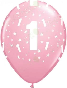 Funcart NUMBER 1 Pink LATEX BALLOONS 10INCHES, 10PCS