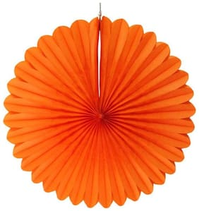 Funcart Orange Paper Fan 12 Inches