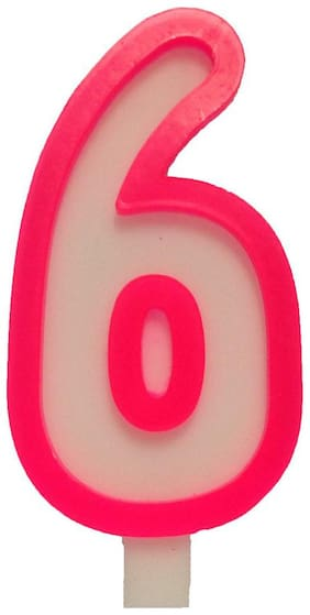 Funcart Pink and White Numerical Six Style Candle