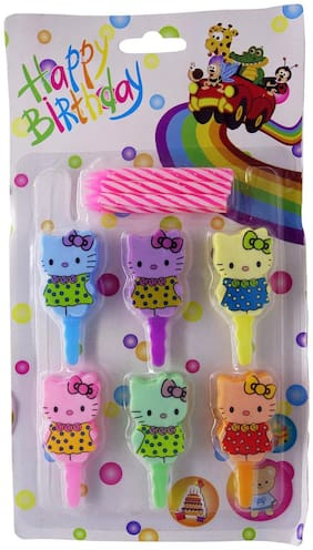 Funcart Pink Color Candle with Multicolor Kitty Cake Topper (6pcs/pack), package size 21*12*1