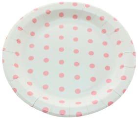 Funcart Pink Polka Dot Round Plates