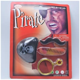 Funcart Pirate prop halloween set with ring eye patch moustache and scar gift