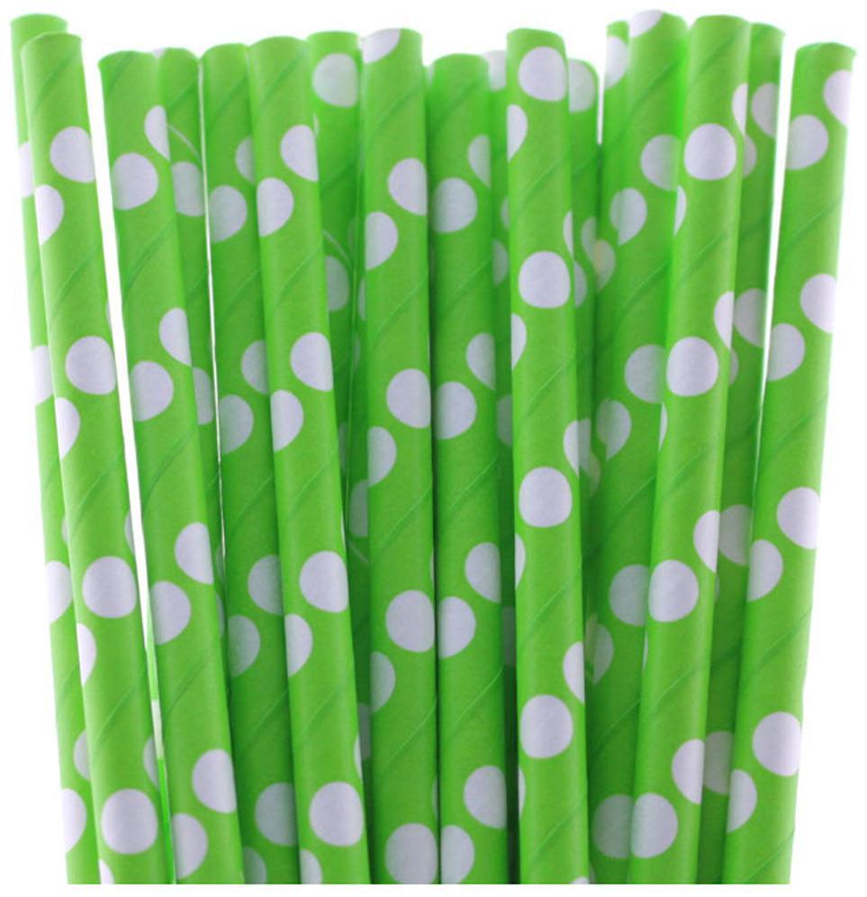 Funcart Polka Dot Paper Straws Green