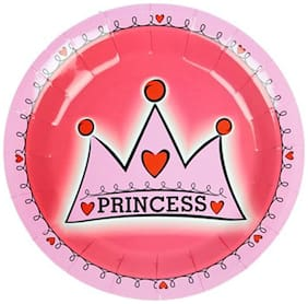Funcart Princess Crown Theme Disposable Paper Plate( Pack Of 6)