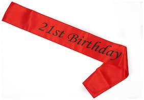 Funcart Red 21Th Birthday Sash