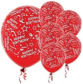 Funcart Red Elegant Happy Birthday Balloons (Pack Of 5)