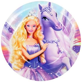 Funcart Riding Princess Theme Disposable Paper Plate ( Pack Of 6)