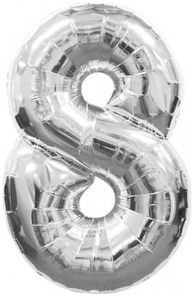 Funcart Silver foil Balloon number 8