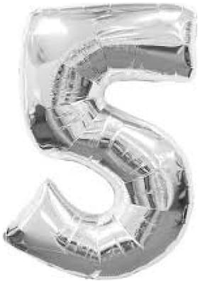 Funcart Silver foil Balloon number 5