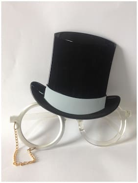 Funcart Silver Color Eye Glasses With Black Hat