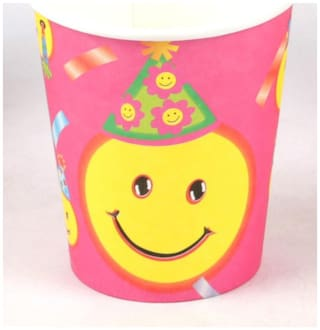 Funcart Smiley Theme Funcart Party Disposable Cups (Pack Of 6)