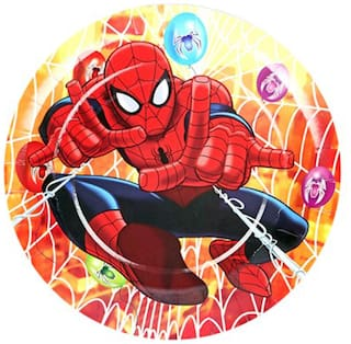 Funcart Spiderman Theme Disposable Paper Plate( Pack Of 6)