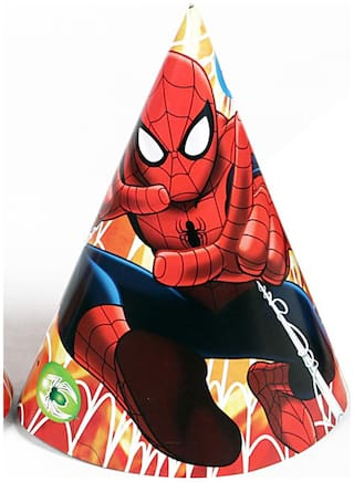 Funcart Spiderman Theme Funcart Party Cone Caps (Pack Of 6)
