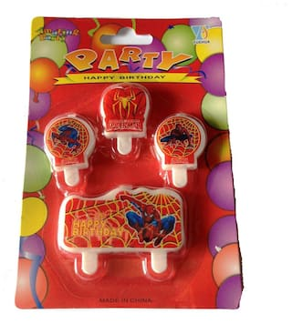 Funcart Spiderman Happy Birthday Cake Topper Candle (4pcs/pack)