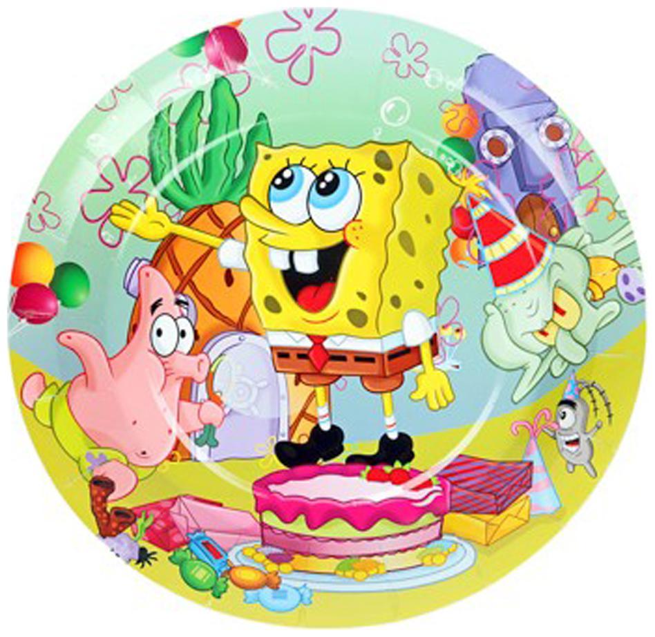 Funcart Spongy Bob Theme Disposable Paper Plate   Pack Of 6