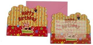 Funcart Stripe Birthday Theme Invitation ( Pack Of 6)