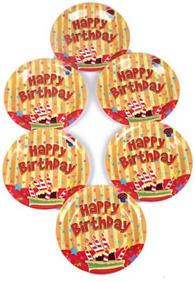 Funcart Stripe Birthday Theme Disposable Paper Plate ( Pack Of 6)