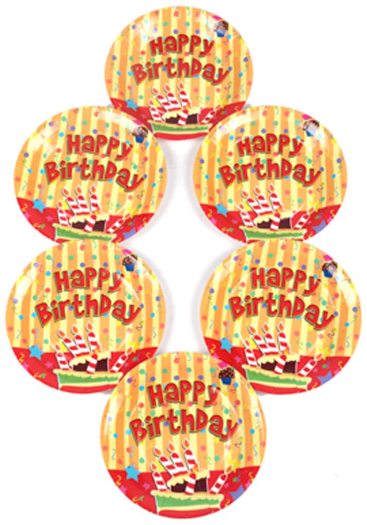 Funcart Stripe Birthday Theme Disposable Paper Plate