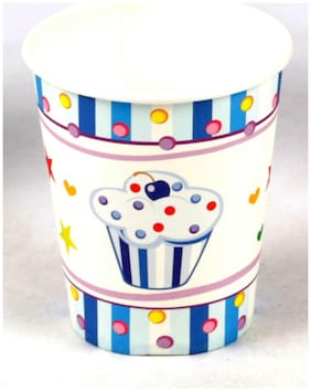 Funcart Sweet Treat Cupcake Blue Theme 255.14 g (9 Oz) Paper Cup( Pack Of 6)