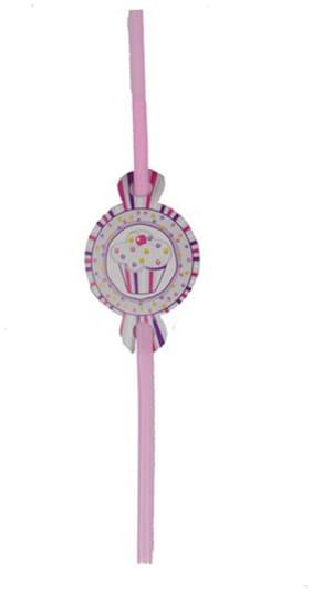 Funcart Sweet Treat Cupcake Pink Theme Drinking Straws ( Pack Of 6)