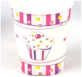 Funcart Sweet Treat Cupcake Pink Theme 255.14 g (9 Oz) Paper Cup( Pack Of 6)