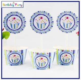 Funcart Sweet Treat Cupcake Blue theme cup cake wrapper